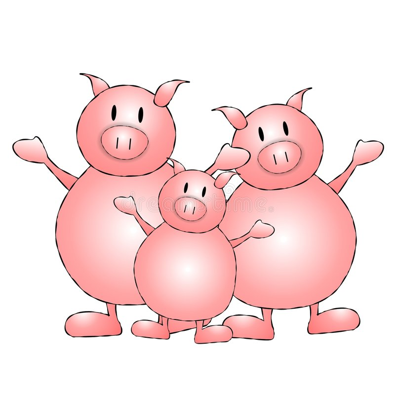 Three Little Pigs Cartoon. An illustration featuring 3 pigs standing in a row royalty free illustration