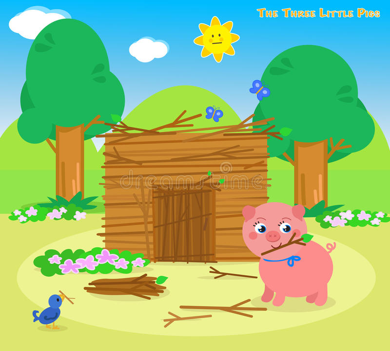 The three little pigs 5: the sticks house vector illustration