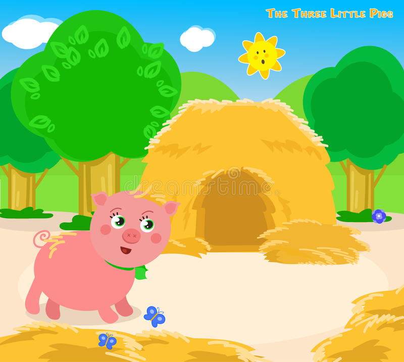 The three little pigs 3: the straw house royalty free illustration