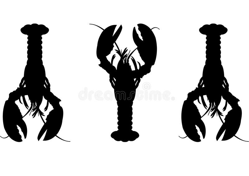 Three Lobster silhouette. Vector format aviable AI royalty free illustration
