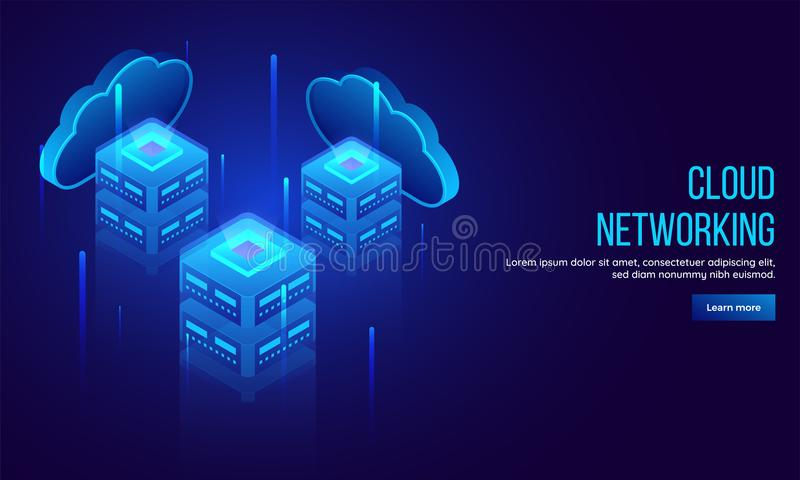 Three local servers connected with cloud servers, 3D illustration for Cloud Networking landing page or web template concept. royalty free illustration