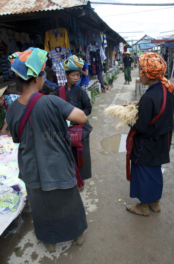 Three local women having a chat at the market. Burma royalty free stock photos