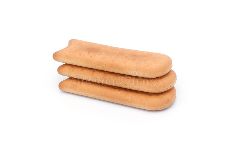 Three long cookies stock image