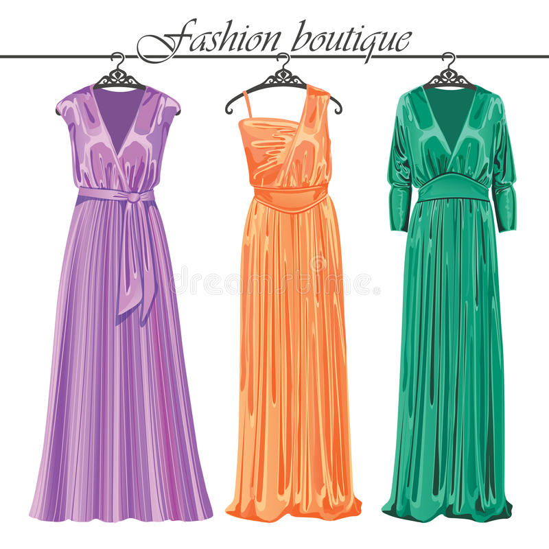 Three long silk party dresses on a hanger.Fashion. The composition of the three females evening party dresses of silk hanging on the hanger.Fashion boutique stock illustration