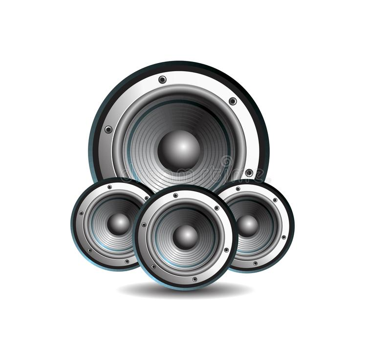 Download Three Loud Speakers On White Background Stock Vector - Image: 13255514