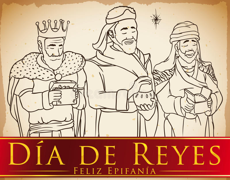 Three Magi in Hand Drawn Style Celebrating `Dia de Reyes`, Vector Illustration. Scroll with the Three Wise Men or Magi and the Star in hand drawn style holding vector illustration