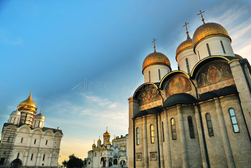 Three main churches of Moscow Kremlin. Left to right - Archangels, Annunciation, Dormition church. UNESCO World Heritage Site. Color photo royalty free stock image