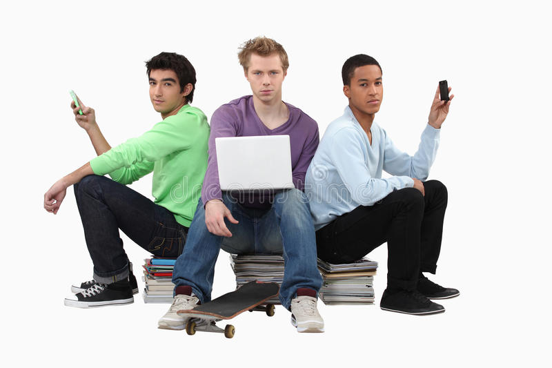 Three male students stock image