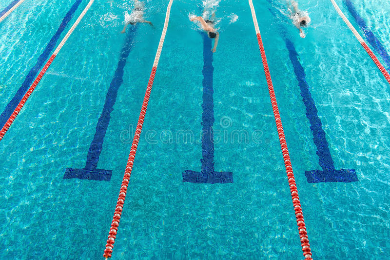 Three male swimmers racing against each other stock images