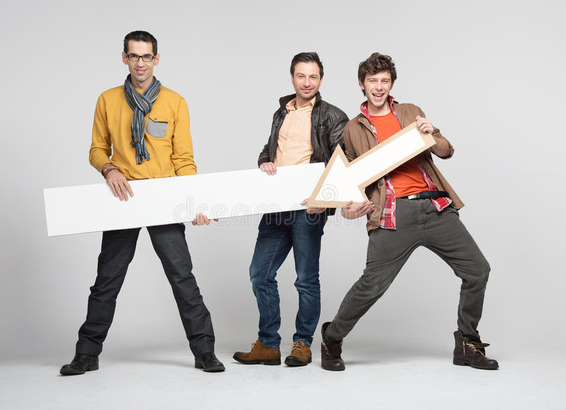 Download Three man with arrow stock image. Image of cheerful, blank - 27854449