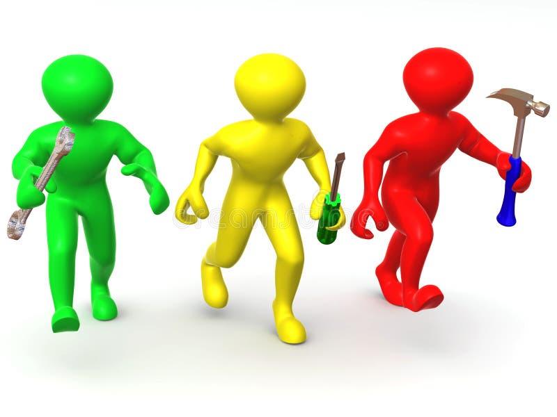 Download Three Man With Tools. Maintenance Stock Illustration - Image: 7088636