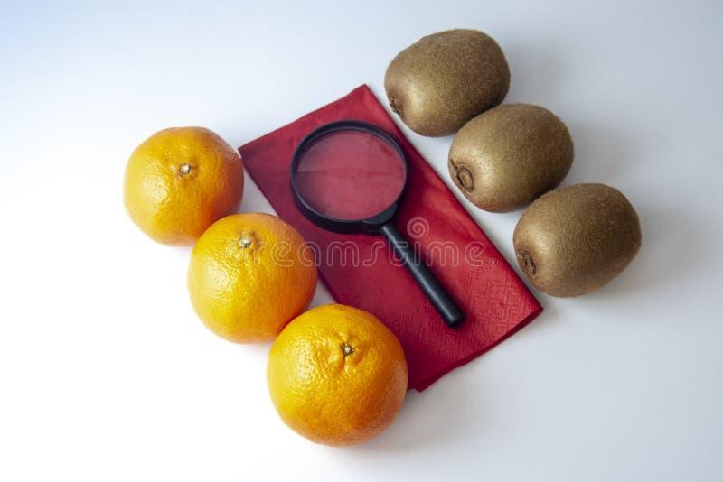 Three mandarins against three kiwis with black magnifying glass royalty free stock image