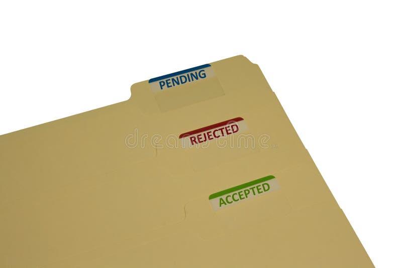 Three manila folders stock images