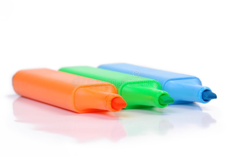 Download Three markers stock image. Image of blue, concept, macro - 2312991