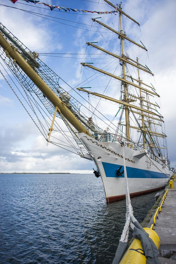 The three-masted ship Mir at the pier of the Tallinn seaport. stock photography