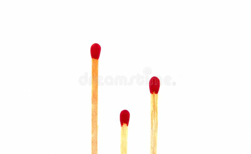 Three of matches show of short long style isolated on white background stock images