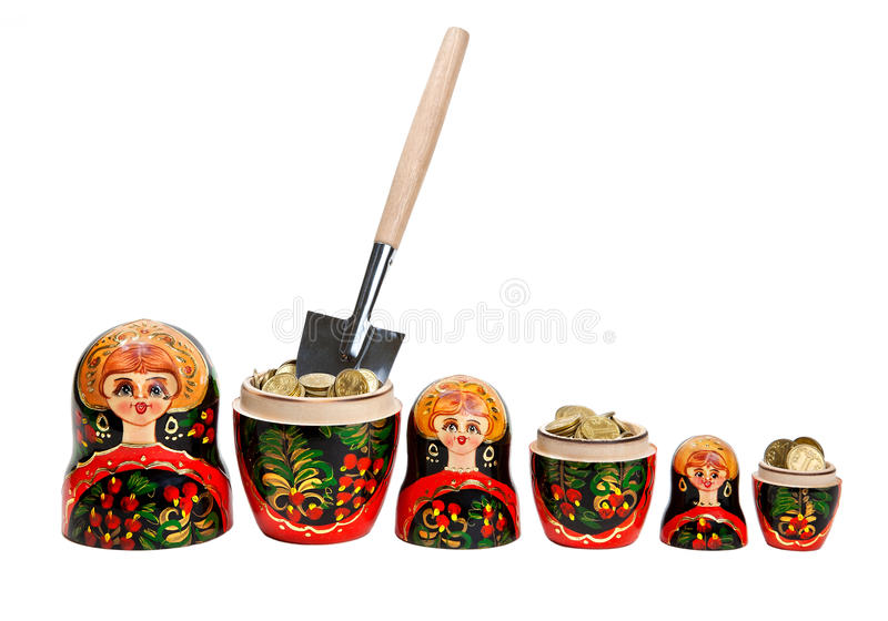 Download Three Matryoshkas Full Of Coins With Shovel Stock Photo - Image of investment, digging: 17565308