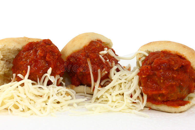 Three Meatball Sliders With Sauce And Shredded Che royalty free stock image