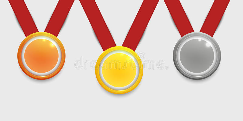 Three medals, Gold, Silver and bronze with red ribbons for the winners. stock illustration