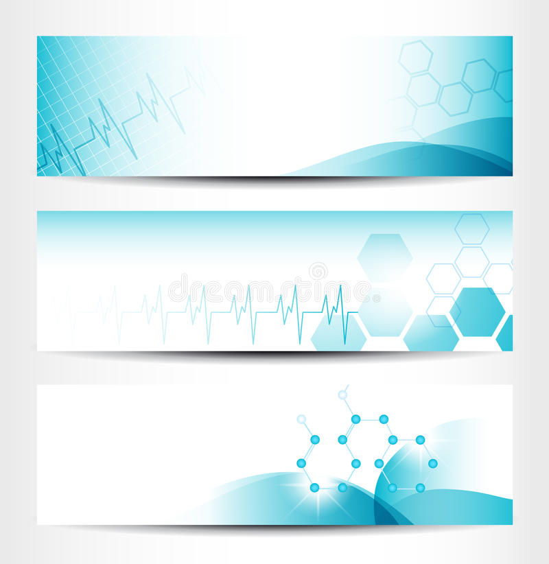 Medical Banners. Three Medical Banners For Web Or Print royalty free illustration