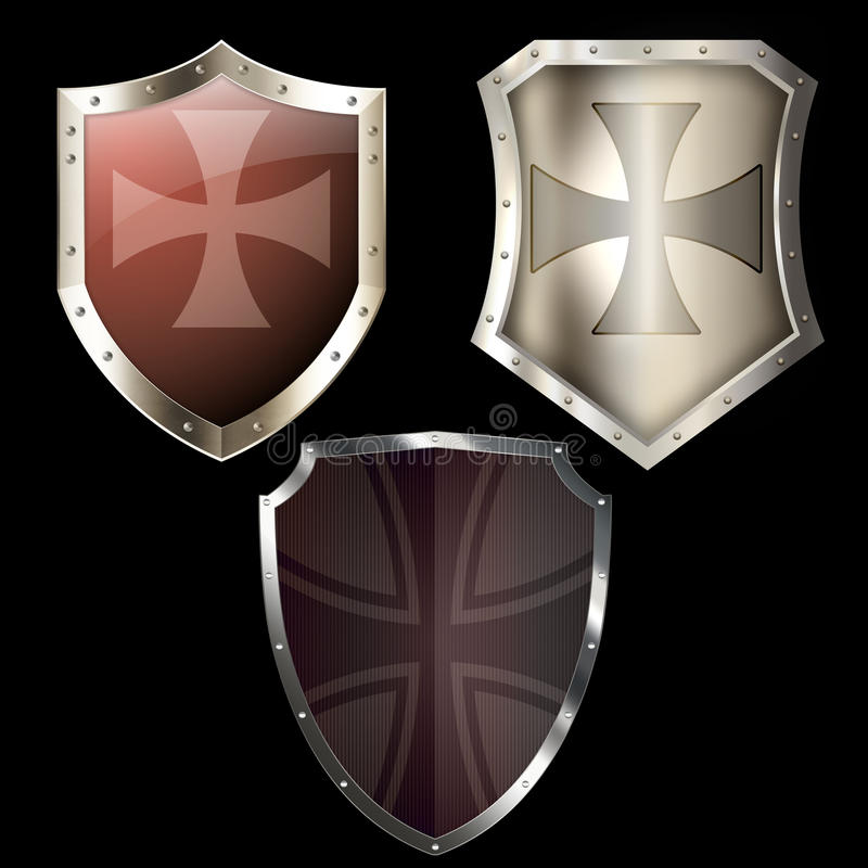 Three medieval shields on black background. vector illustration