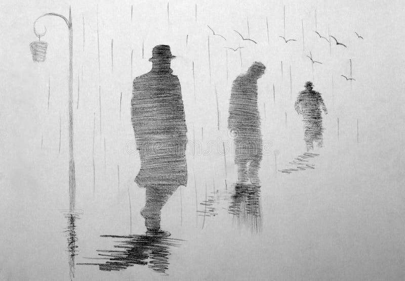 Three men receding into the distance stock illustration