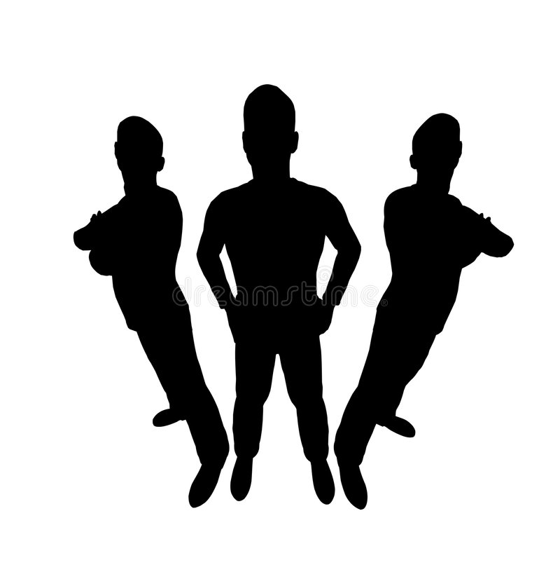 Three men silhouette royalty free illustration
