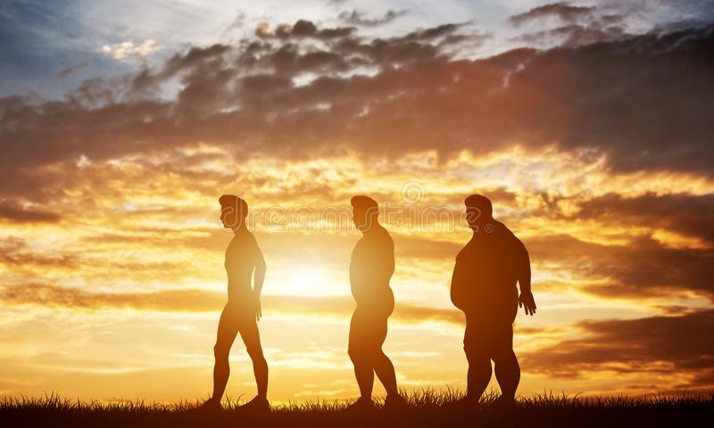 Three men silhouettes with different body types on a sunset sky stock images