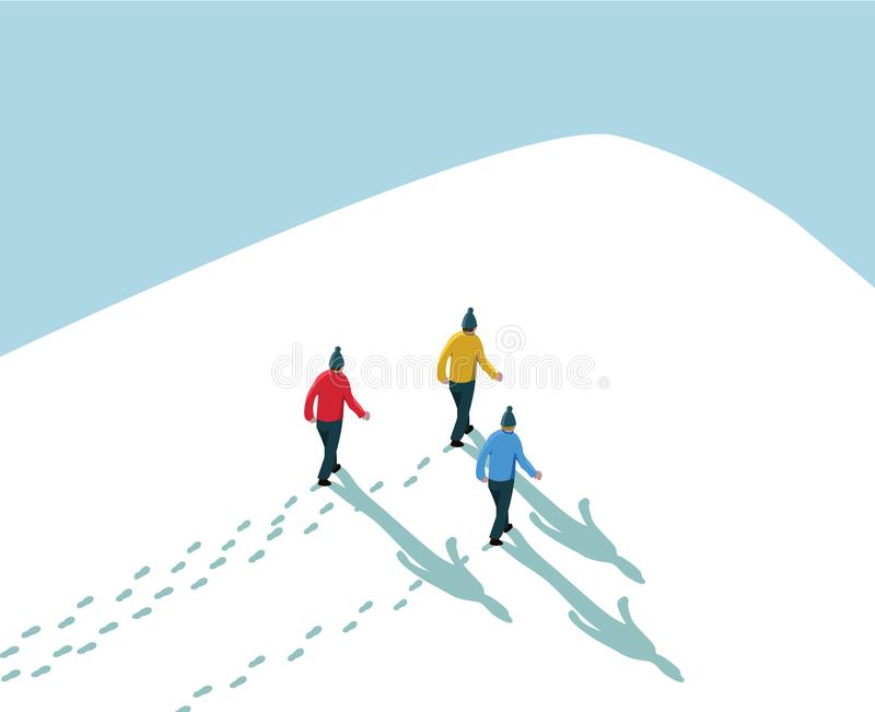 Three men walking in snow up to hill mountain peak with blue sky vector illustration