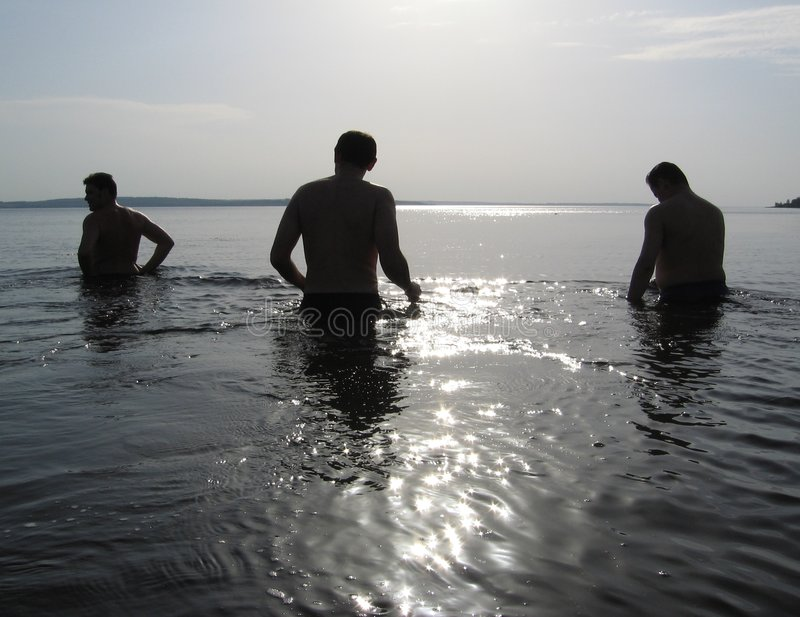 Download Three Men On The Water Stock Photo - Image: 843290