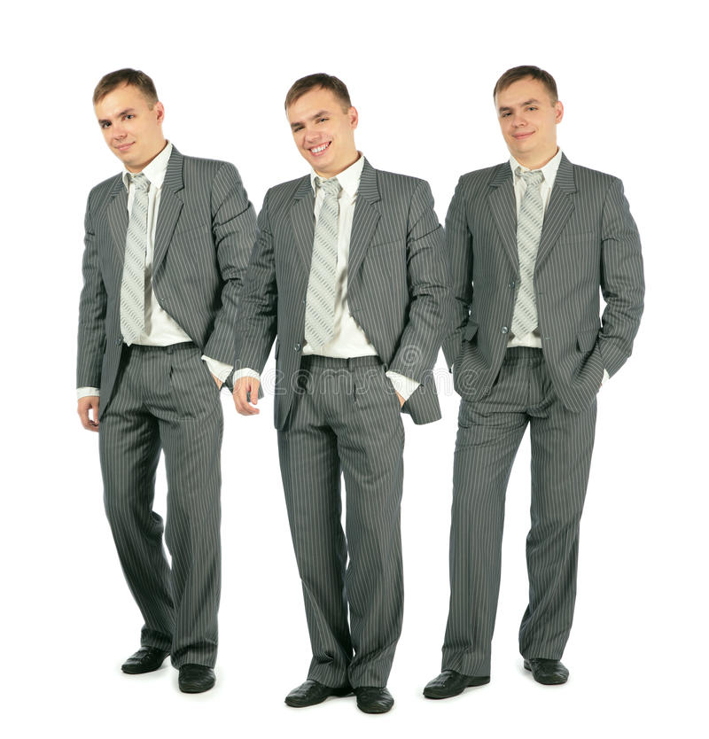 Download Three Merry Businessmen Standing On White, Collage Stock Photo - Image: 13393006