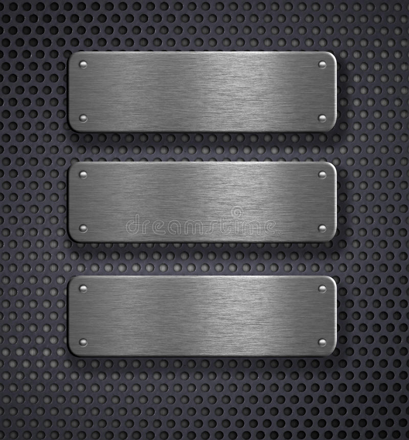 Download Three Metal Plates Over Grid Background Stock Photo - Image: 16411160