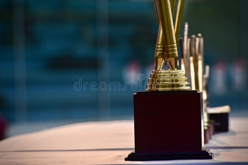 Metallic crests sports trophy object photo. The three metallic crests sports trophy object unique stock photograph stock photos