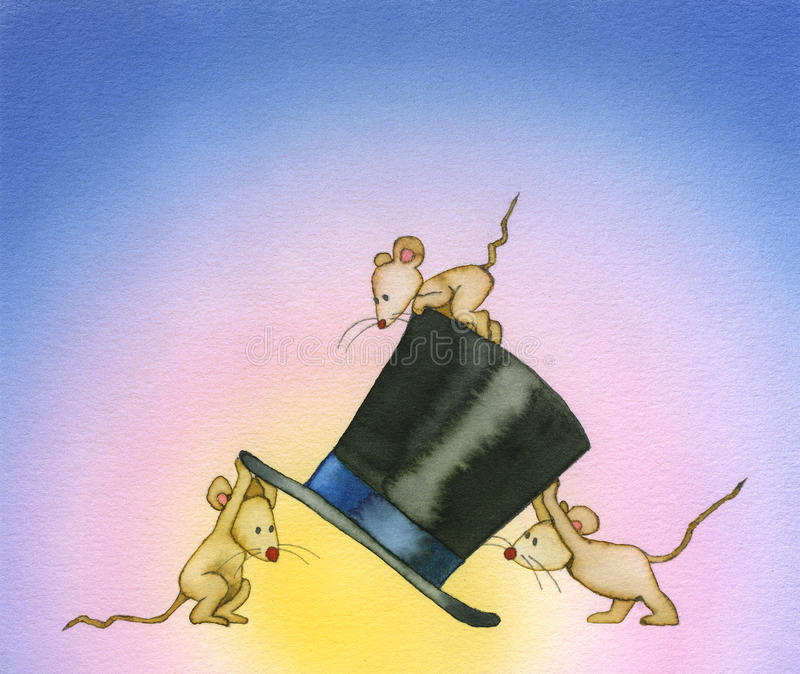 Three mice. Three little mice are nosing aroud a high hat. Maybe it's a magic hat royalty free illustration