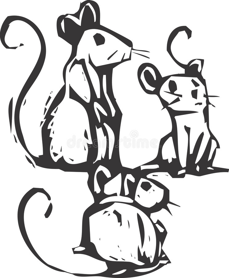 Three Mice. Sitting together listening for something royalty free illustration