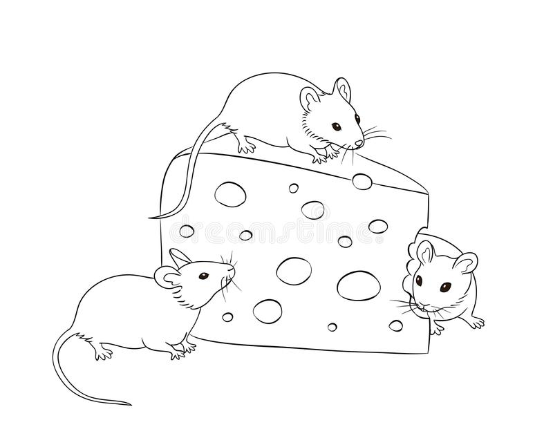 Three mice with a piece of cheese in contours royalty free illustration