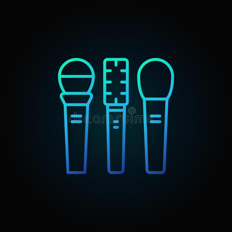 Three microphones vector blue icon or sign in thin line style stock illustration
