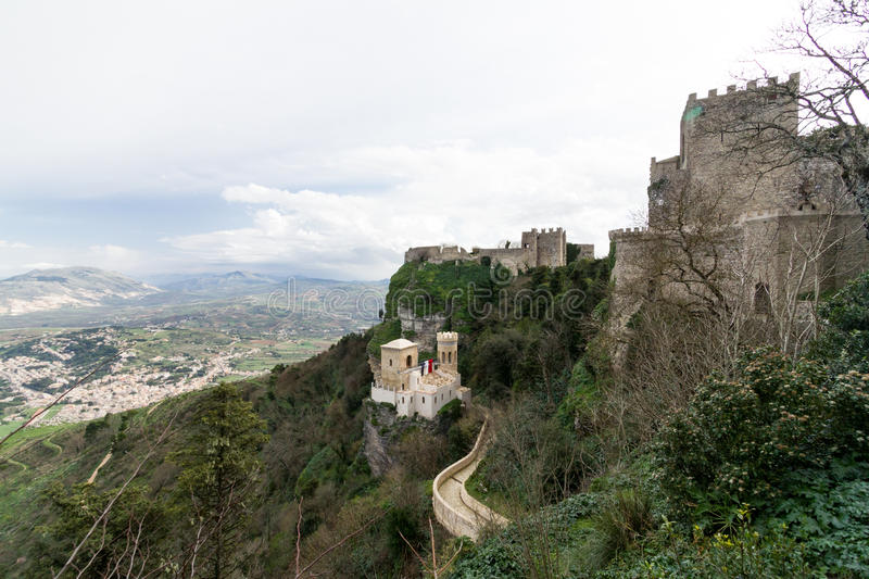 Three middle age castles located on Erice Italy, Sicily, provin. Ce of Trapani royalty free stock photos