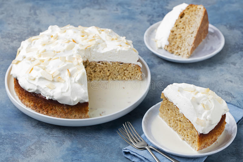 Three milk cake, tres leches cake with coconut. Traditional dessert of Latin America stock photography