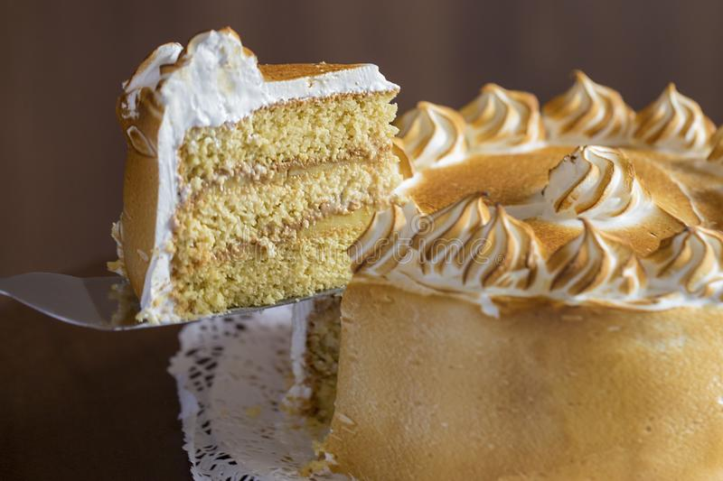 Three milk cake, tres leches cake. Traditional dessert of Latin America royalty free stock images