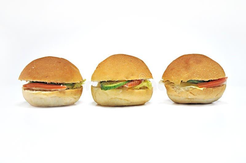 Three Mini Sandwiches stock image