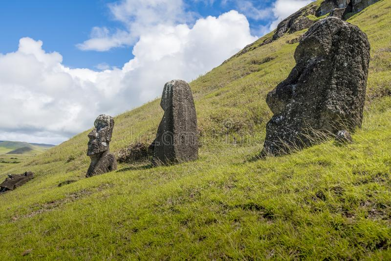 The three moais un the hill. Path on the hill of the moais of the Rano Raraku volcano where all the moai were sculpted royalty free stock photo