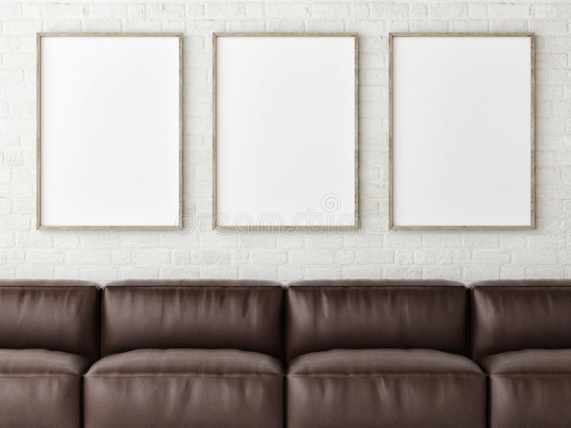 Three mock up white posters with brown leather sofa, 3d render royalty free illustration