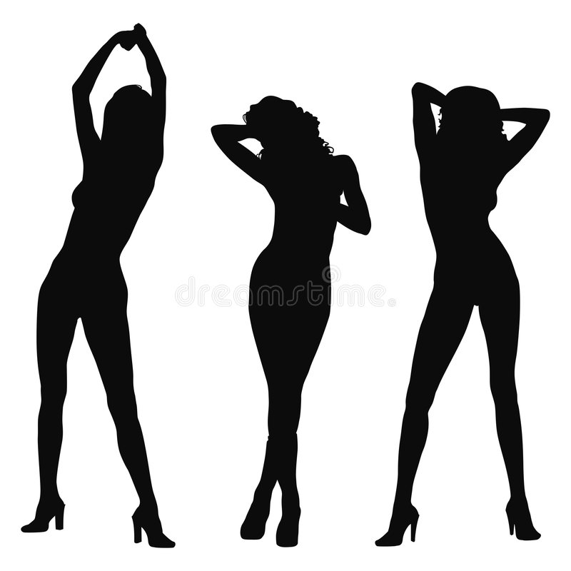 Download Three model silhouette stock vector. Image of background - 1676912