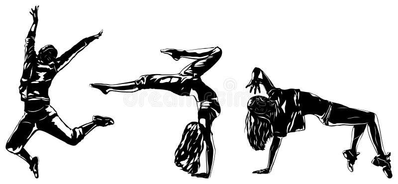 Three modern dancers. Silhouettes on white stock illustration