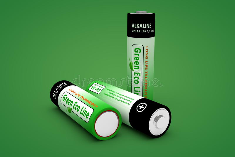 Download Three Modern Eco Batteries On Green Stock Illustration - Illustration of background, protection: 22238729
