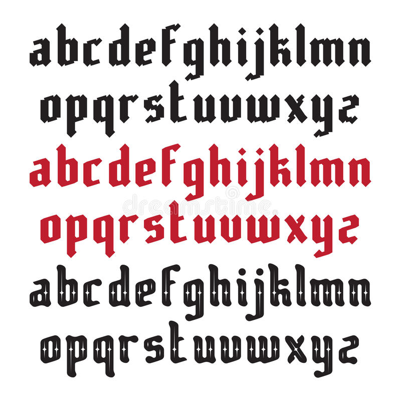 Three Modern Gothic Fonts vector illustration