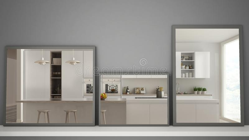 Three modern mirrors on shelf or desk reflecting interior design scene, contemporary modern kitchen, minimalist white architecture stock images