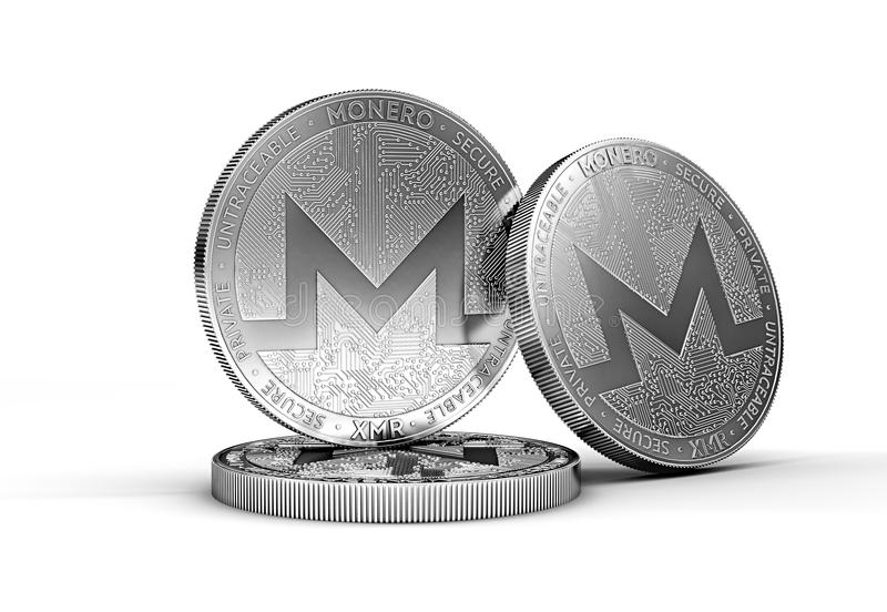 Three Monero XMR cryptocurrency physical concept coin isolated on white background. 3D rendering royalty free illustration
