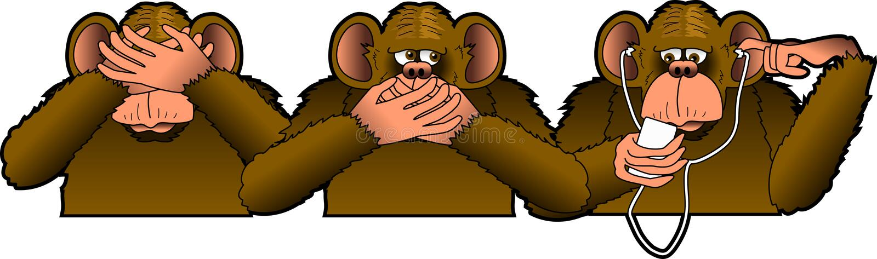 Three_Monkeys. Raster graphic depicting a cartoon parody of the THREE WISE MONKEYS royalty free illustration